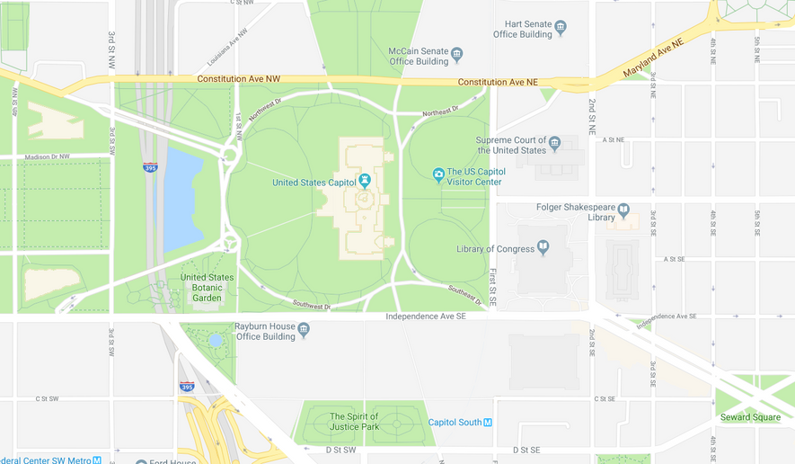 Screenshot of Google maps showing the McCain Senate Office Building.