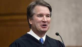 In this Aug. 7, 2018, photo. President Donald Trump's Supreme Court nominee, Judge Brett Kavanaugh, officiates at the swearing-in of Judge Britt Grant to take a seat on the U.S. Court of Appeals for the Eleventh Circuit in Atlanta at the U.S. District Courthouse in Washington.  A new poll from The Associated Press-NORC Center for Public Affairs Research, released Wednesday, finds that nearly half of Americans _ 46 percent _ don't have a strong opinion on President Donald Trump's nominee to replace the retiring Justice Anthony Kennedy on the high court.(AP Photo/J. Scott Applewhite)