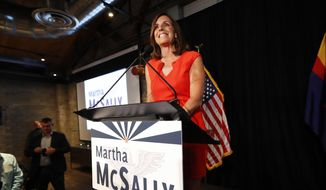 U.S. Senate candidate and U.S. Rep. Martha McSally, R-Ariz., speaks to supporters after her primary election victory, Tuesday, Aug. 28, 2018, in Tempe, Ariz. McSally will face U.S. Rep. Krysten Sinema, D-Ariz., in the November election as they seek the seat of retiring U.S. Sen. Jeff Flake, R-Ariz. (AP Photo/Matt York)