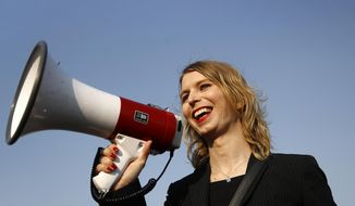 In this April 18, 2018, file photo, Chelsea Manning addresses participants at an anti-fracking rally in Baltimore. Convicted classified document leaker Chelsea Manning will not be allowed to enter Australia for a speaking tour scheduled to start Sunday, Sept. 2, 2018. (AP Photo/Patrick Semansky, File)