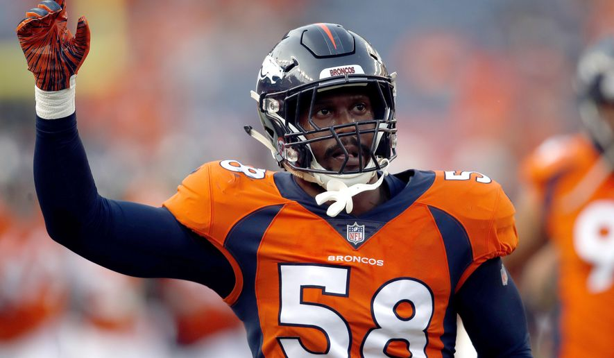 File-This Aug. 18, 2018, file photo shows Denver Broncos linebacker Von Miller (58) taking the field prior to a preseason NFL football game against the Chicago Bears in Denver. Miller went bonkers when Bradley Chubb fell to the Denver Broncos with the fifth pick in the NFL draft. Chubb not only takes pressure off Miller, who hasn't been back to the playoffs since winning Super Bowl 50 MVP honors, but he bolsters what was already a dynamic Denver pass rush that gives opponents fits and covers a whole lot of warts in the Broncos' beleaguered secondary.  (AP Photo/David Zalubowski, File)
