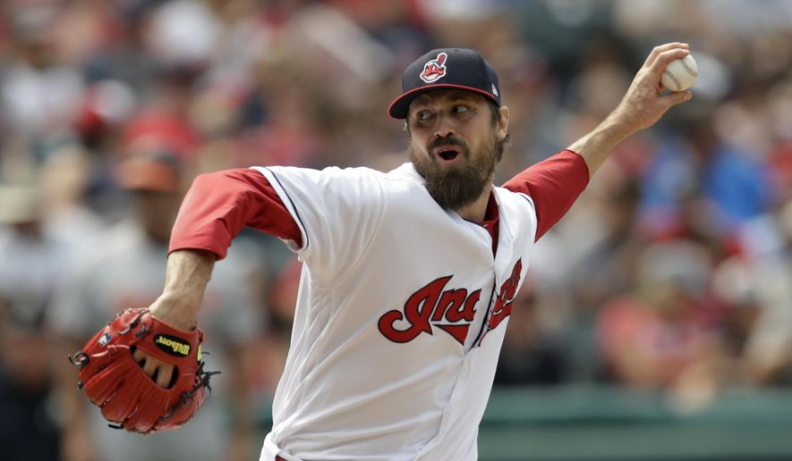 FILE - In this Sunday, Aug. 19, 2018 file photo,Cleveland Indians relief pitcher Andrew Miller delivers in the seventh inning of a baseball game against the Baltimore Orioles in Cleveland. The Cleveland Indians have placed valuable reliever Andrew Miller on the disabled list with a left shoulder impingement, Wednesday, Aug. 29, 2018. (AP Photo/Tony Dejak, File)