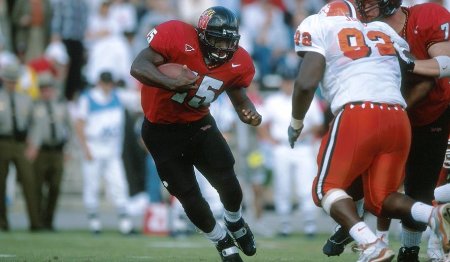 LaMont Jordan is the University of Maryland's all-time leading rusher, a 2018 Maryland Athletics Hall of Fame inductee and the football program's new radio color analyst. (Photo courtesy of Twitter / @TerpsFootball)