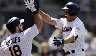 San Diego Padres' Hunter Renfroe, right, celebrates with teammate Austin Hedges (18) after hitting a three-run home run in the third inning of a baseball game against the Seattle Mariners, Wednesday, Aug. 29, 2018, in San Diego. (AP Photo/Gregory Bull)