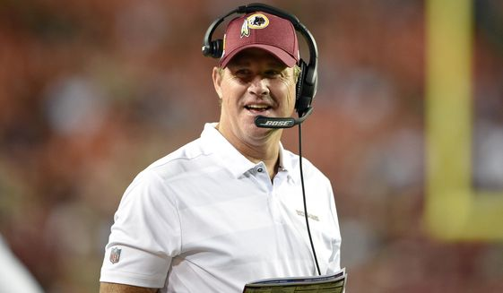 File-This Aug. 24, 2018, file photo shows Washington Redskins head coach Jay Gruden reacting during the first half of a preseason NFL football game against the Denver Broncos, in Landover, Md. The Redskins are 0-4 in season openers under Gruden, who was also criticized for their performance in a potential win-and-get-in game against the New York Giants who had nothing to play for in Week 17 in 2016.  (AP Photo/Nick Wass, File)