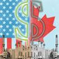 Illustration on U.S. /Canada energy by Linas Garsys/The Washington Times