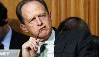 "Sen. Patrick Toomey,Pennsylvannia Republican, says he's had ""extensive"" conversations with the Trump administration about the effects of the new tax law. listens to Secretary of Commerce Wilbur Ross during a Senate Finance Committee hearing on tariffs, on Capitol Hill, Wednesday, June 20, 2018 in Washington. (AP Photo/Jacquelyn Martin) (Associated Press)"