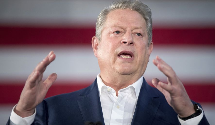 Former Vice President Al Gore speaks at a rally for Democratic presidential candidate Hillary Clinton at Miami Dade College in Miami, Tuesday, Oct. 11, 2016. (AP Photo/Andrew Harnik)