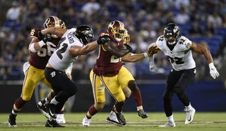 Washington Redskins running back Rob Kelley, center, rushes the ball in the first half of a preseason NFL football game against the Baltimore Ravens, Thursday, Aug. 30, 2018, in Baltimore. (AP Photo/Gail Burton)