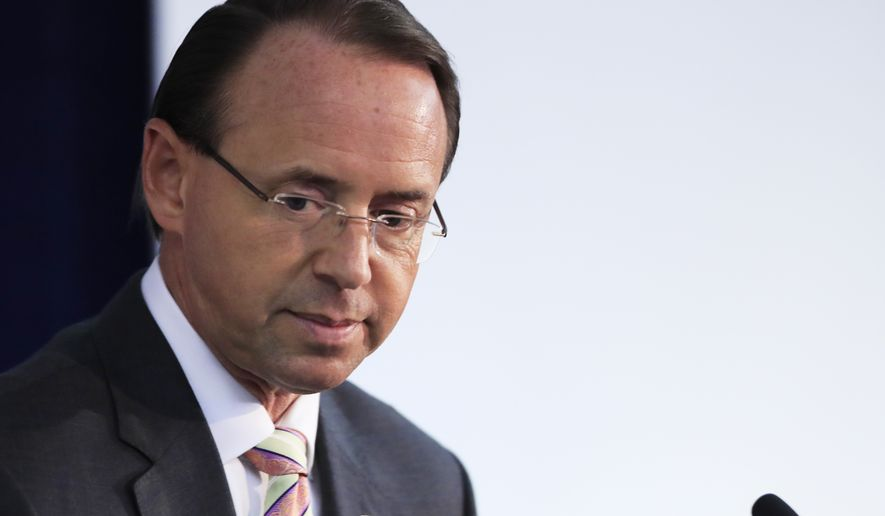 Deputy Attorney General Rod Rosenstein concludes his speech at the Bureau of Justice Assistance's rollout for Fentanyl: The Real Deal Training Video, in Washington, Thursday, Aug. 30, 2018. (AP Photo/Manuel Balce Ceneta)