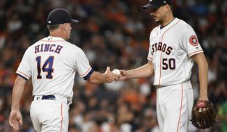 Houston Astros starting pitcher Charlie Morton (50) is removed from the game by manager AJ Hinch during the fifth inning of a baseball game against the Oakland Athletics, Tuesday, Aug. 28, 2018, in Houston. (AP Photo/Eric Christian Smith)