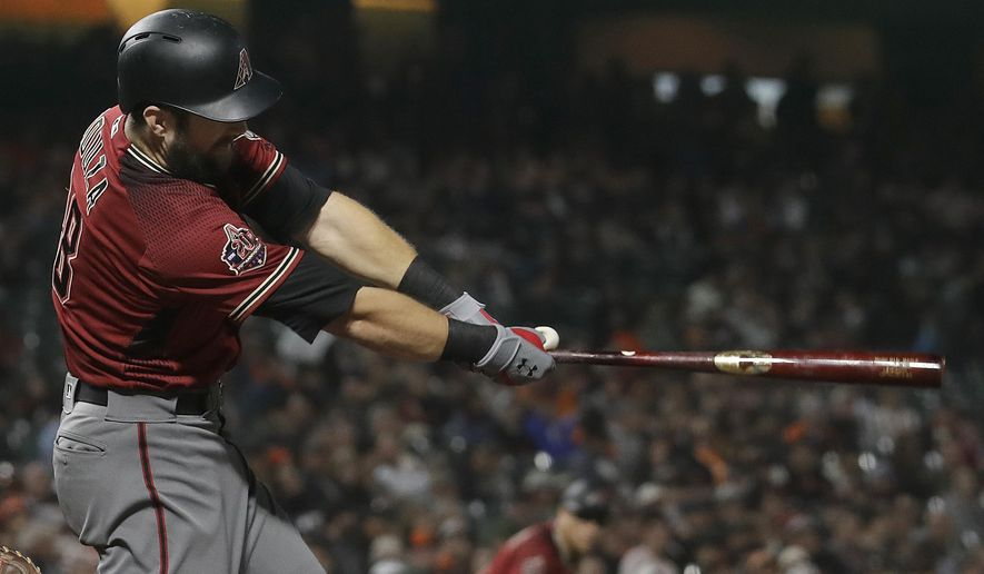 Arizona Diamondbacks' Steven Souza Jr. hits an RBI double against the San Francisco Giants during the fourth inning of a baseball game in San Francisco, Wednesday, Aug. 29, 2018. (AP Photo/Jeff Chiu)