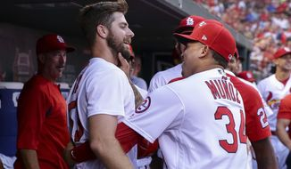 St. Louis Cardinals' John Gant, front left, is congratulated by Yairo Munoz after hitting a home run during the third inning of a baseball game against the Pittsburgh Pirates, Thursday, Aug. 30, 2018, in St. Louis. (AP Photo/Tim Spyers)