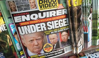 FILE - This July 12, 2017, file photo shows the cover of an issue of the National Enquirer featuring President Donald Trump at a store in New York. Confidential documents obtained by The Associated Press show that the National Enquirer's circulation declined even as it published stories attacking Trump's political foes and, prosecutors claim, helped suppress stories about his alleged sexual affairs. (AP Photo/Mary Altaffer, File)
