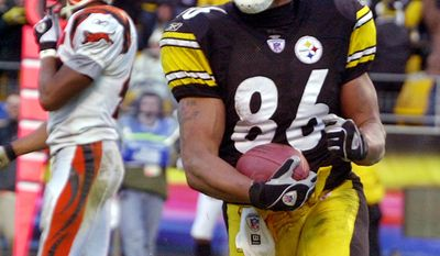 Hines Ward, Pittsburgh Steelers (1998-2011) Pittsburgh Steelers receiver Hines Ward (86) celebrates a fourth quarter touchdown that put the Steelers ahead late in the game with Cincinnnati Bengals safety Rogers Beckett, left,  Sunday Nov. 30, 2003 in Pittsburgh.  The Bengals came back and scored win under a minute to play, to beat the Steelers 24-20.(AP Photo/Gene J. Puskar)