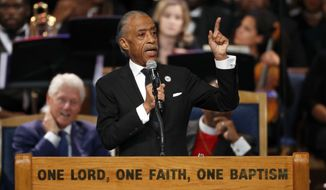 Rev. Al Sharpton speaks during the funeral service for Aretha Franklin at Greater Grace Temple, Friday, Aug. 31, 2018, in Detroit. Franklin died Aug. 16, 2018 of pancreatic cancer at the age of 76. (AP Photo/Paul Sancya)
