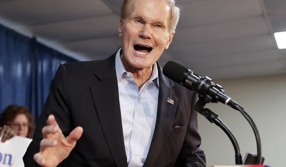 Sen. Bill Nelson, D-Fla., speaks during a Democratic Party rally Friday, Aug. 31, 2018, in Orlando, Fla. Democratic gubernatorial nominee Andrew Gillum's matchup against the Republican nominee, U.S. Rep. Ron DeSantis, and Nelson's race against Republican Gov. Rick Scott are two of the most-watched races in the midterm elections. (AP Photo/John Raoux)