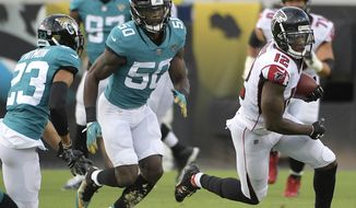 In this Aug. 25, 2018, photo, Atlanta Falcons wide receiver Mohamed Sanu (12) runs after catching a pass in front of Jacksonville Jaguars defensive back Tyler Patmon (23) and linebacker Telvin Smith (50) during the first half of an NFL preseason football game in Jacksonville, Fla. The Jaguars relied on stout defense to win the AFC South and reach the conference title game last season. They return 12 of their top 14 players on that side of the ball and believe they will be even better this fall. (AP Photo/Phelan M. Ebenhack)