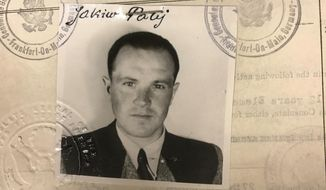 This 1949 photo provided by the U.S. Department of Justice shows a U.S. visa photo of Jakiw Palij, a former Nazi concentration camp guard who has been living in the Queens borough of New York. The White House says that Palij, a 95-year-old former Nazi concentration camp guard has been deported to Germany, 14 years after a judge ordered his expulsion. In a statement, the White House said the deportation of Palij was carried out early Tuesday Aug. 21, 2018. (US Department of Justice via AP)