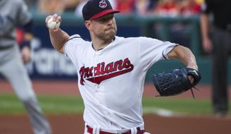 Cleveland Indians starting pitcher Corey Kluber delivers to a Tampa Bay Rays batter during the first inning of a baseball game in Cleveland, Friday, Aug. 31, 2018. (AP Photo/Phil Long)