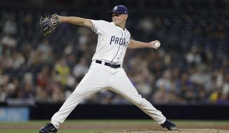 San Diego Padres starting pitcher Eric Lauer works against a Colorado Rockies batter during the fourth inning of a baseball game Thursday, Aug. 30, 2018, in San Diego. (AP Photo/Gregory Bull)
