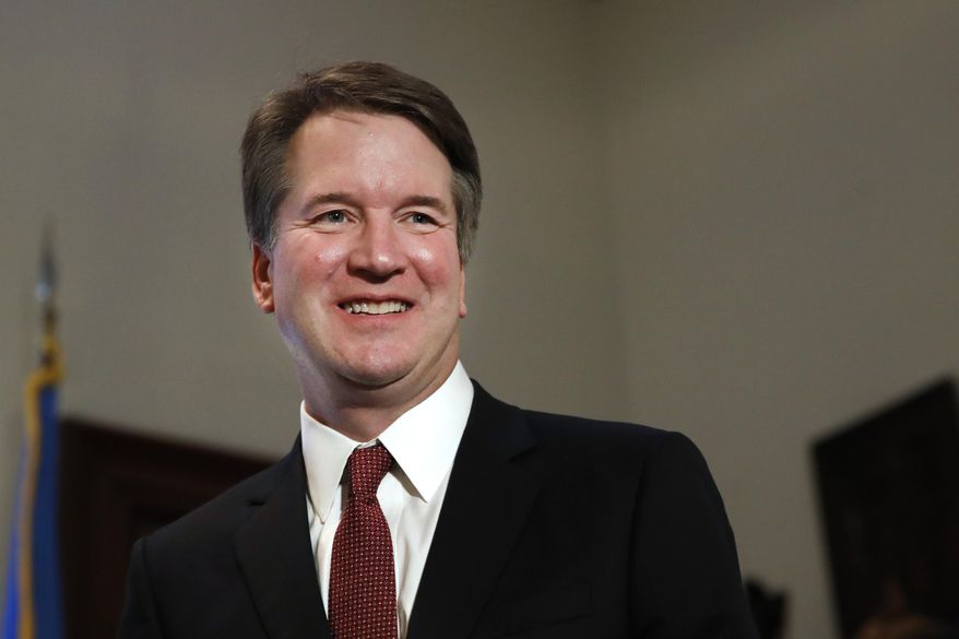 In this July 26, 2018, file photo, Supreme Court nominee Judge Brett Kavanaugh visits Capitol Hill in Washington. (AP Photo/Jacquelyn Martin, File)