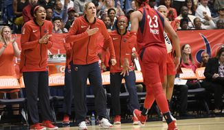 The Washington Mystics Elena Delle Donne, center, Aerial Powers (23) and others react during the second half of Game 3 of a WNBA semifinals basketball playoff game against the Atlanta Dream, Friday, Aug. 31, 2018, in Washington. The Dream won 81-76. (AP Photo/Nick Wass) ** FILE **