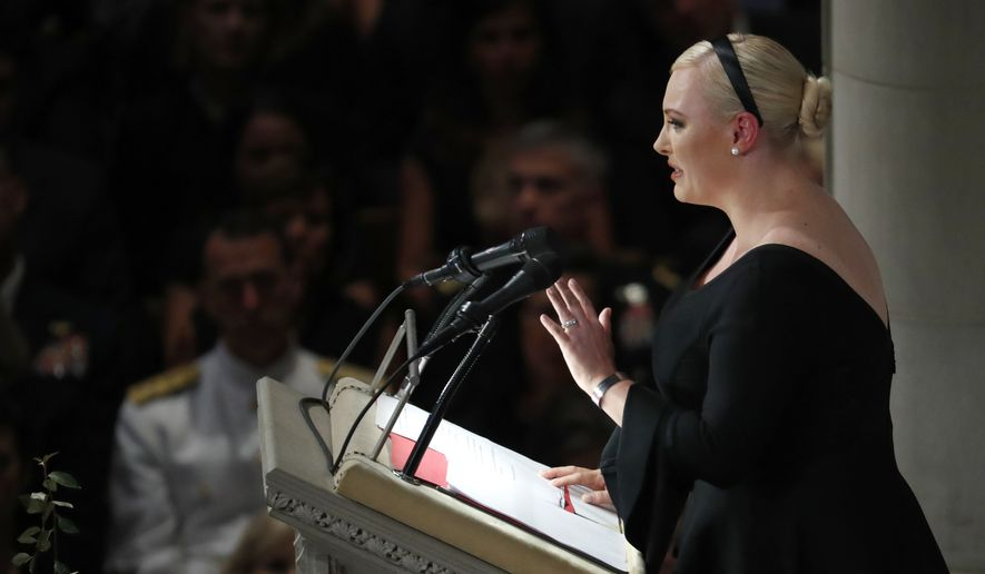 Meghan McCain speaks at a memorial service for her father, Sen. John McCain, R-Ariz., at Washington National Cathedral in Washington, Saturday, Sept. 1, 2018. McCain died Aug. 25, from brain cancer at age 81. (AP Photo/Pablo Martinez Monsivais)