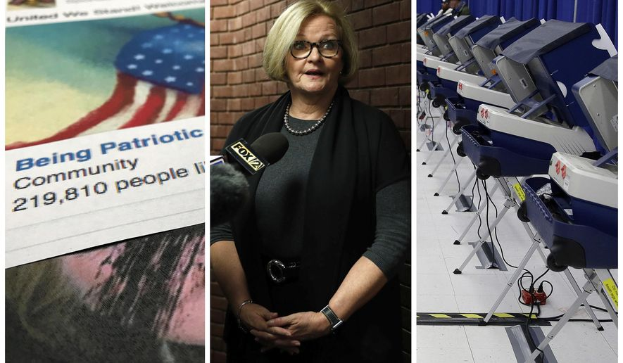 """This combination of 2017-2018 photos shows from left, a Facebook posting from a group named """"Being Patriotic"""" attributed to Russian agents by the U.S. House Intelligence Committee, Democratic Sen. Claire McCaskill of Missouri whose campaign was targeted by Russian hackers and voting machines in Chicago after hackers found a way into the voter registration database at the Illinois State Board of Elections in mid-2016. (AP Photo/Jon Elswick, Jeff Roberson, Kiichiro Sato)"""