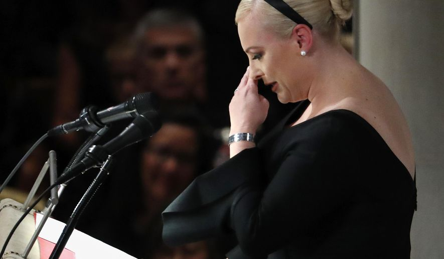 Meghan McCain speaks at a memorial service for her father, Sen. John McCain, R-Ariz., at Washington Nationals Cathedral in Washington, Saturday, Sept. 1, 2018. McCain died Aug. 25, from brain cancer at age 81. (AP Photo/Pablo Martinez Monsivais)