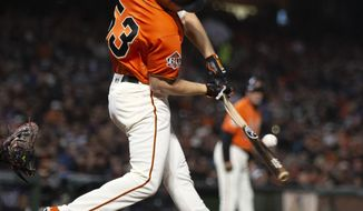 San Francisco Giants' Austin Slater (53) breaks his bat grounding out to short against the New York Mets during the seventh inning of a baseball game Friday, Aug. 31, 2018, in San Francisco. (AP Photo/D. Ross Cameron)
