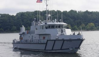 In this Tuesday, July 31, 2018, photo, a Yard Patrol Craft leaves the U.S. Naval Academy on a training trip in Annapolis, Md. For the first time in history of the navigation training program at the academy, about 80 ROTC students participated in YP training this summer as part of a pilot program exploring ways to expand navigation training for future U.S. Navy officers after high-profile accidents last year. (AP Photo/Brian Witte)