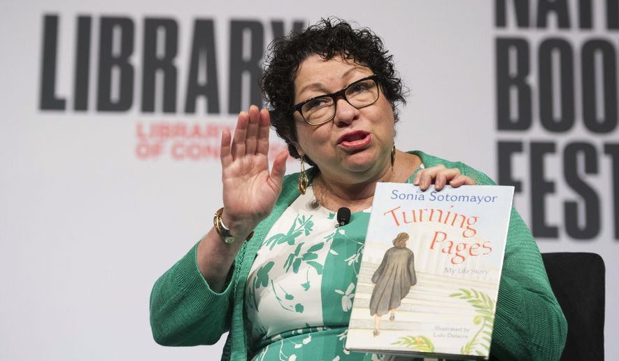 """Supreme Court Associate Justice Sonia Sotomayor talks about her children's book, """"Turning Pages: My Life Story"""", during the Library of Congress National Book Festival in Washington, Saturday, Sept. 1, 2018. (AP Photo/Cliff Owen)"""