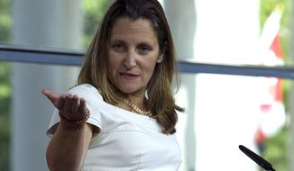Canada's Foreign Affairs Minister Chrystia Freeland speaks during a news conference at the Canadian Embassy after talks at the Office of the United States Trade Representative, in Washington, Friday, Aug. 31, 2018. (AP Photo/Jose Luis Magana) ** FILE **