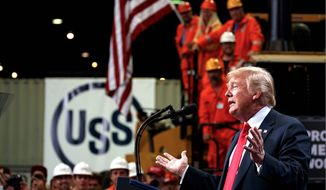 In a proclamation, President Trump revealed his admiration for the U.S. workforce. He also said he's open to talking to labor organizations. speaks on trade at Granite City Works Steel Coil Warehouse, Thursday, July 26, 2018, Granite City, Ill. (AP Photo/Evan Vucci) (Associated Press)