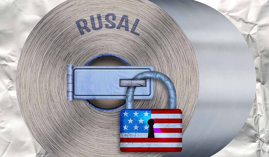 Illustration on aluminium sanctions against Russia by Greg Groesch/The Washington Times