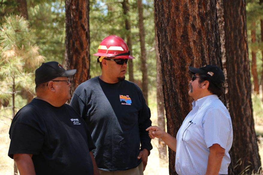 White Mountain Apache foresters Dino Manuel (left) and Logan Lawson (middle) work on reducing wildfire risk with James Jackson of the Bureau of Indian Affairs. (Photograph by Tony Attanasio)