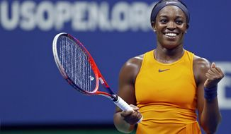 Sloane Stephens, of the United States, reacts after defeating Elise Mertens, of Belgium, during the fourth round of the U.S. Open tennis tournament Sunday, Sept. 2, 2018, in New York. (AP Photo/Adam Hunger)