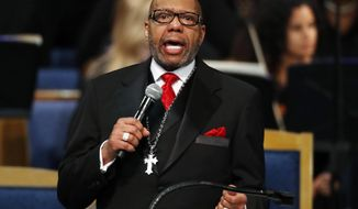 "FILE - In this Aug. 31, 2018, file photo, the Rev. Jasper Williams, Jr., delivers the eulogy during the funeral service for Aretha Franklin at Greater Grace Temple, in Detroit. Williams, a fiery, old-school pastor who is under fire for saying black America is losing ""its soul"" at Franklin's funeral stands firm by his words with the hopes that those critics can understand his perspective. He told The Associated Press in a phone interview Sunday, Sept. 2, he felt his sermon was appropriate. (AP Photo/Paul Sancya, File)"