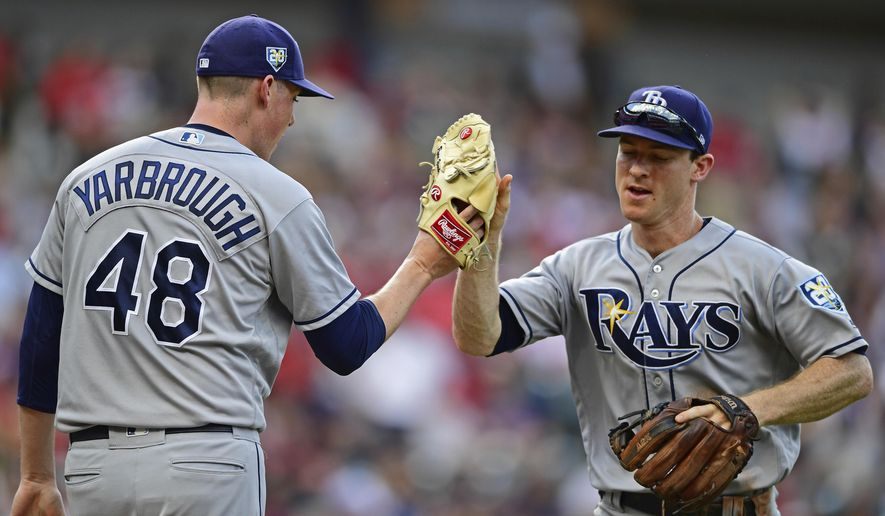 CORRECTS TO JOEY WENDLE NOT JOEY WENDEL - Tampa Bay Rays' Joey Wendle, right, is congratulated by relief pitcher Ryan Yarbrough after throwing out Cleveland Indians' Francisco Lindor in the third inning of a baseball game, Sunday, Sept. 2, 2018, in Cleveland. (AP Photo/David Dermer)