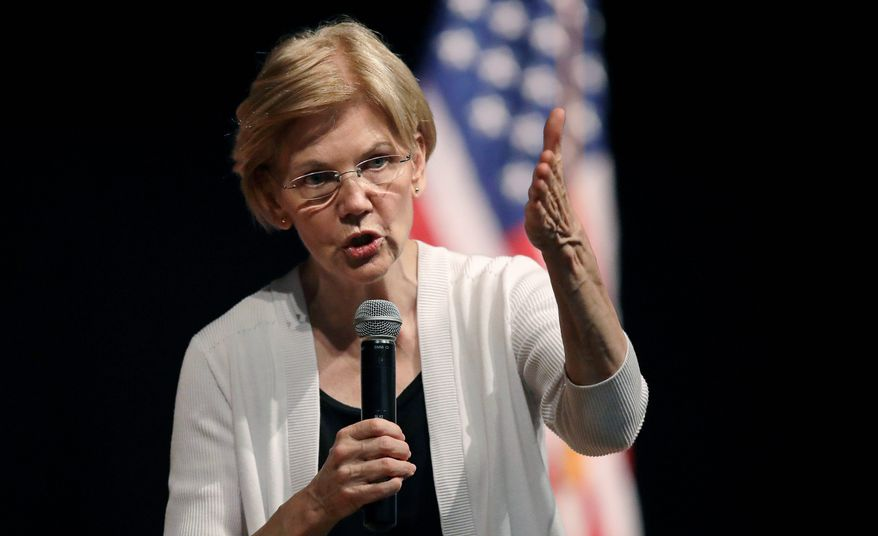 """You have what I have,"" said Sen. Elizabeth Warren, Massachusetts Democrat, in an interview. ""My family is my family, but my background played no role in my getting hired anywhere,"" Ms. Warren said. (Associated Press)"