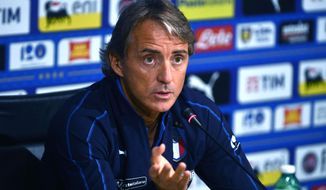 Italian national soccer team's head coach Roberto Mancini speaks during a press conference ahead of Friday's Nations League soccer match against Poland, at the Coverciano training center near Florence, Italy, Monday, Sept. 32018. (Claudio Giovannini/ANSA via AP)