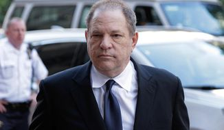 FILE - In this July 9, 2018 file photo, Harvey Weinstein arrives to court in New York. NBC's news chairman has sent an exhaustive defense of the network's handling of Ronan Farrow's investigation of Weinstein to his staff members, saying any speculation that the disgraced Hollywood mogul had any role in the network's rejection of the story was baseless. NBC's decision not to air a story became an embarrassment, and returned to the news last week when Farrow's former producer publicly criticized the network. (AP Photo/Seth Wenig, File)