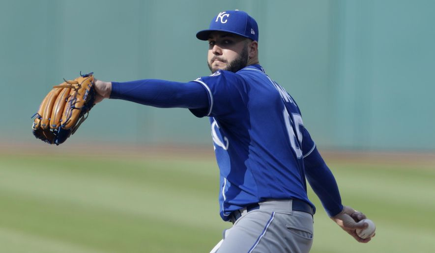 Kansas City Royals starting pitcher Jakob Junis delivers in the first inning of a baseball game against the Cleveland Indians, Monday, Sept. 3, 2018, in Cleveland. (AP Photo/Tony Dejak)