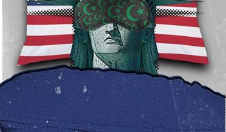 Illustration on America's lack of awareness about Islamist terror by Linas Garsys/The Washington Times