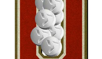 Illustration on laws mandating RU-486 availability in State University Systems by Alexander Hunter/The Washington Times