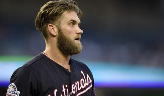 Washington Nationals' Bryce Harper pauses during his at bat during the first inning of a baseball game against the St. Louis Cardinals, Tuesday, Sept. 4, 2018, in Washington. (AP Photo/Nick Wass) ** FILE **