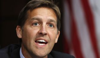 Sen. Ben Sasse, R-Neb., speaks during a Senate Judiciary Committee confirmation hearing for Supreme Court nominee Brett Kavanaugh, on Capitol Hill, Tuesday, Sept. 4, 2018, in Washington. (AP Photo/Jacquelyn Martin)