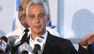 FILE - In this Aug. 6, 2018, file photo, Chicago Mayor Rahm Emanuel speaks at a news conference in Chicago. Emanuel announced Tuesday, Sept. 4, 2018, that he will not seek a third term in 2019. AP Photo/Teresa Crawford, File)