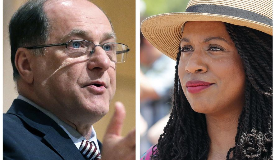 FILE - This pair of file photos shows U.S. Rep. Michael Capuano, D-Mass., left, on Feb. 1, 2018, in Cambridge, Mass., and Boston city councilor Ayanna Pressley, right, on June 30, 2018 in Boston. Pressley is challenging the veteran Massachusetts congressman in the Sept. 4 state Democratic primary. If elected, she'd be the first black woman Massachusetts has sent to Congress. (AP Photos/File)